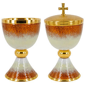 Gold plated brass chalice ciborium and paten with white and orange enamel s1