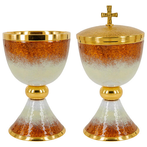 Gold plated brass chalice ciborium and paten with white and orange enamel 1