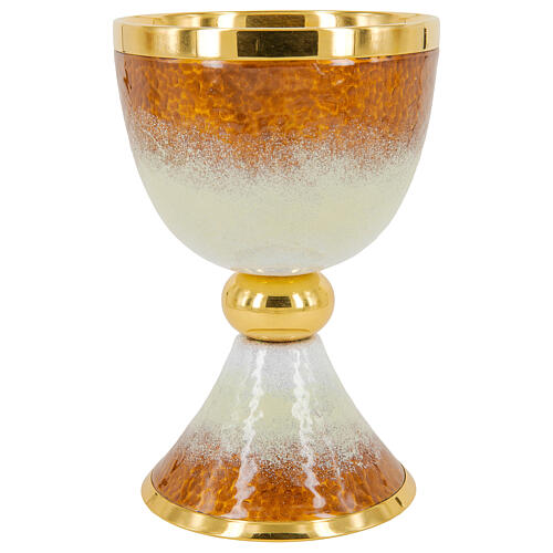Gold plated brass chalice ciborium and paten with white and orange enamel 2