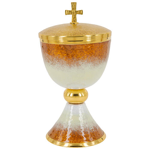 Gold plated brass chalice ciborium and paten with white and orange enamel 3