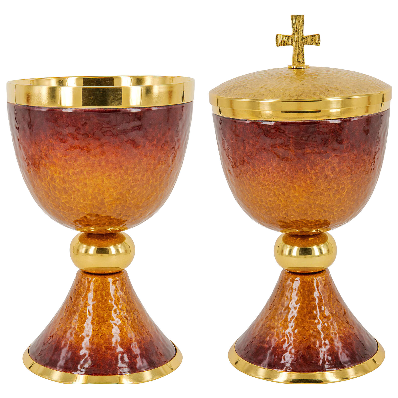 Chalice ciborium paten orange and red enamel and gold plated brass 4