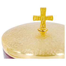 Chalice ciborium paten orange and red enamel and gold plated brass s5