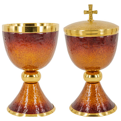 Chalice ciborium paten orange and red enamel and gold plated brass 3