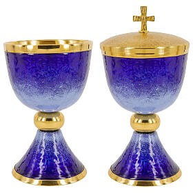 Chalice ciborium paten blue and light blue enamel and gold plated brass s1