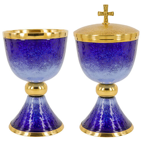 Chalice ciborium paten blue and light blue enamel and gold plated brass 1