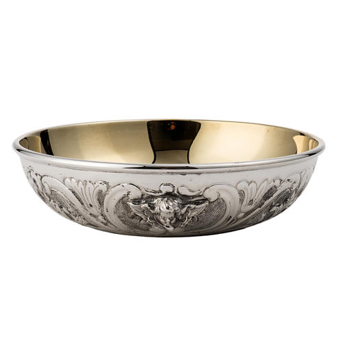 Bowl Paten in silver 800 with angel decoration 1