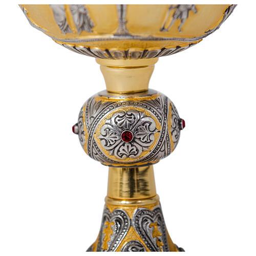 Calice pisside patena Crocifissione Ultima Cena Evangelisti coppa argento ottone 5