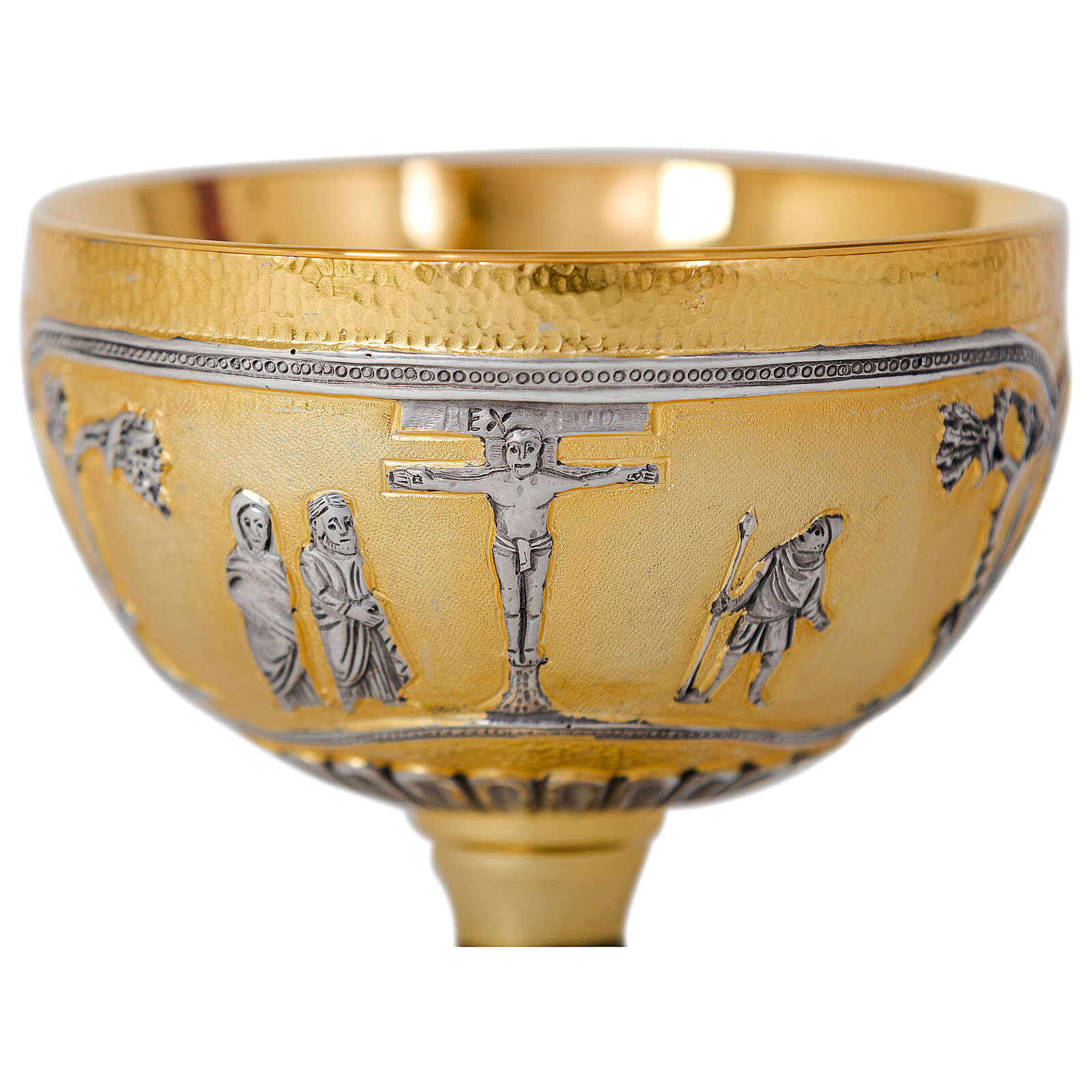 Chalice and ciborium Last Supper Crucifixion Evangelists bicolored brass 4