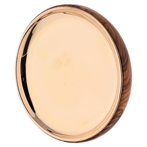 Patène bois olivier laiton doré Emmaüs Moins Bethléem 2