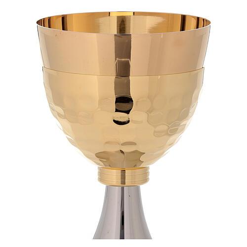 Pareja cáliz y copón bicolor de latón dorado 24k 3