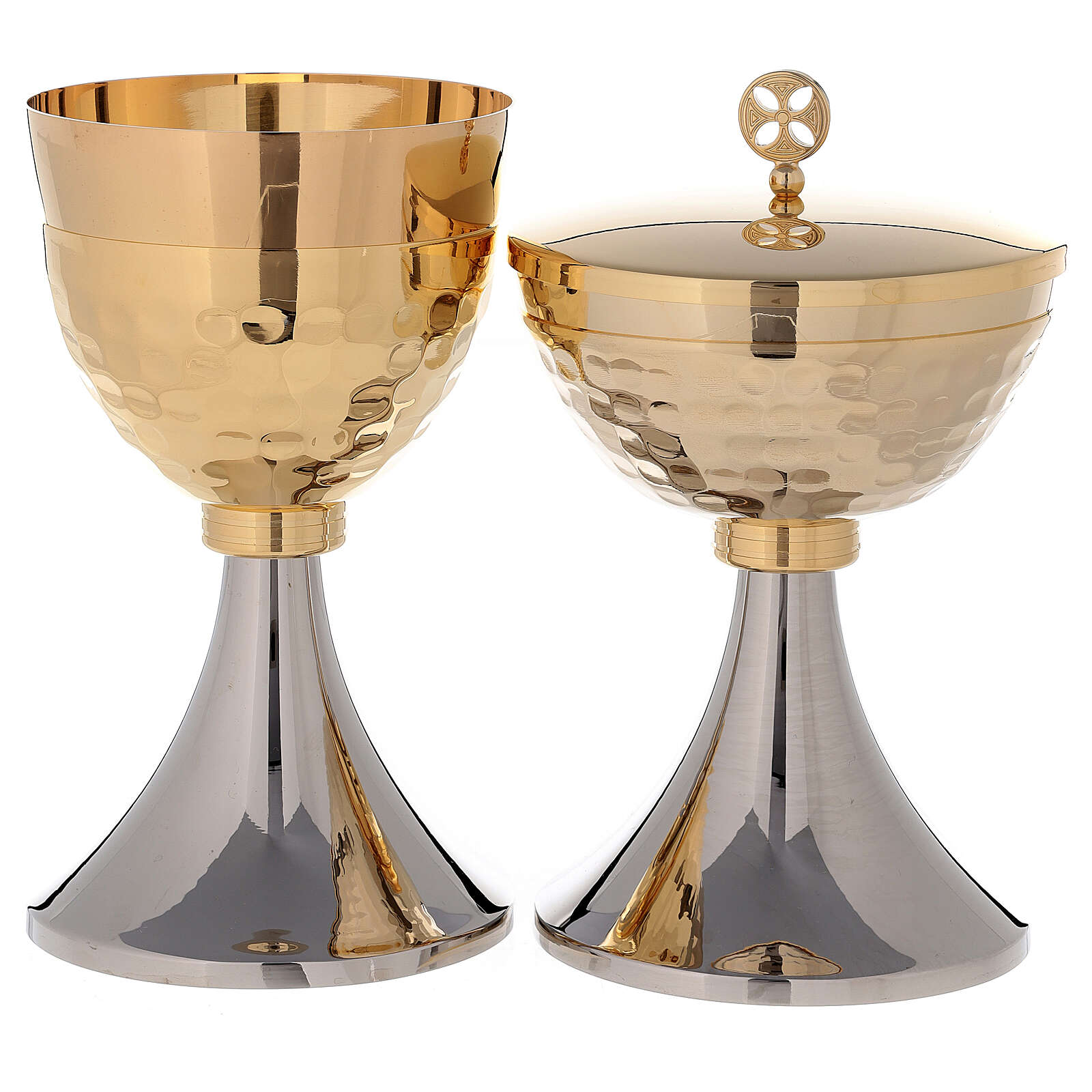 Chalice and Ciborium two-toned golden brass 24K 4