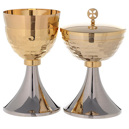 Chalice and Ciborium two-toned golden brass 24K 1