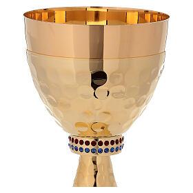 Calice e Pisside in ottone dorato 24K con base e sottocoppa martellata s3