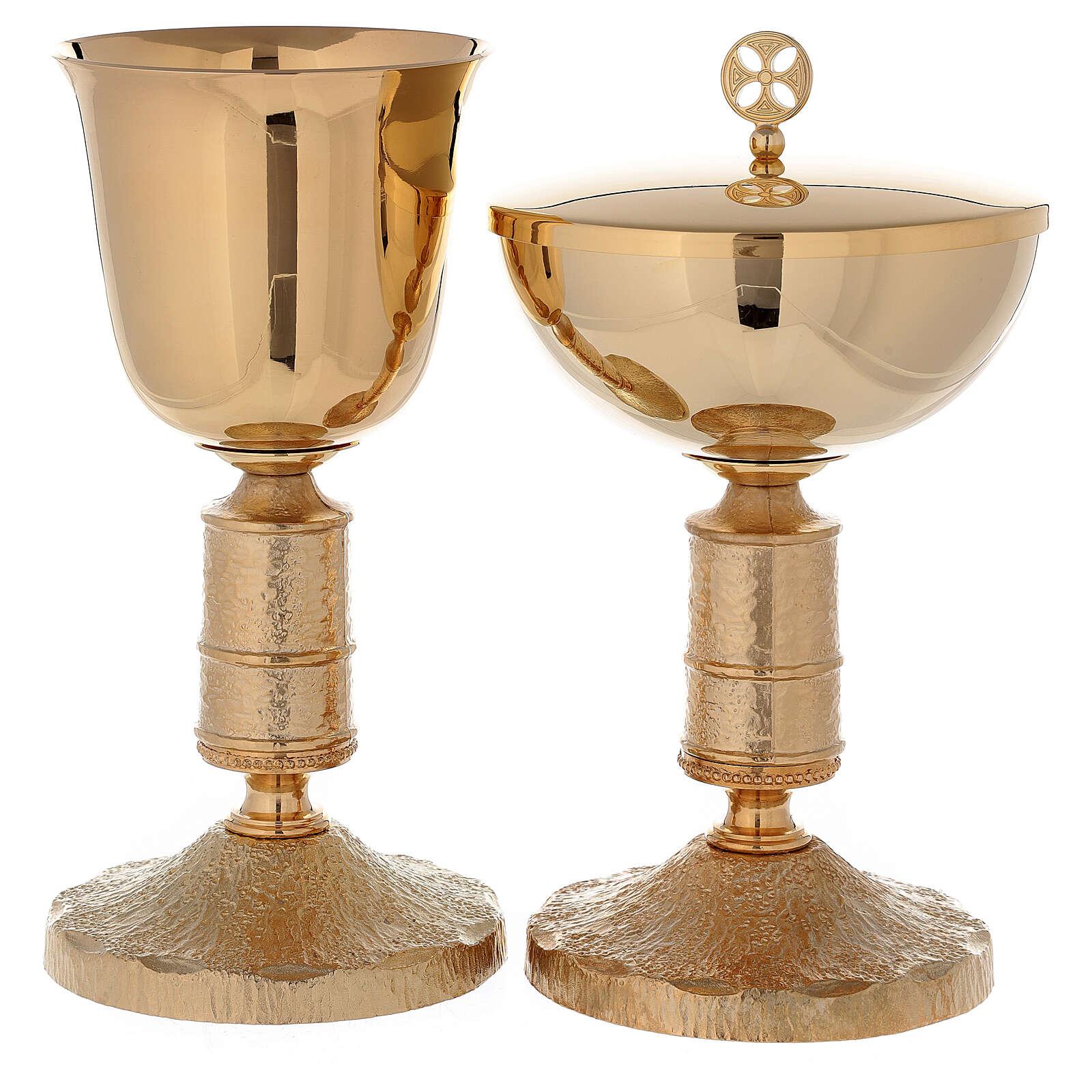 Calice et ciboire en laiton doré 24K avec noeud style Medievalis 4