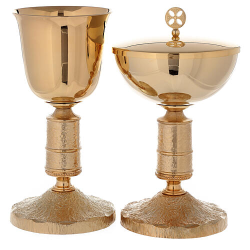Calice et ciboire en laiton doré 24K avec noeud style Medievalis 1
