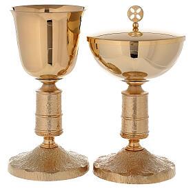 Calice e Pisside in ottone dorato 24K con nodo stile Medievalis s1