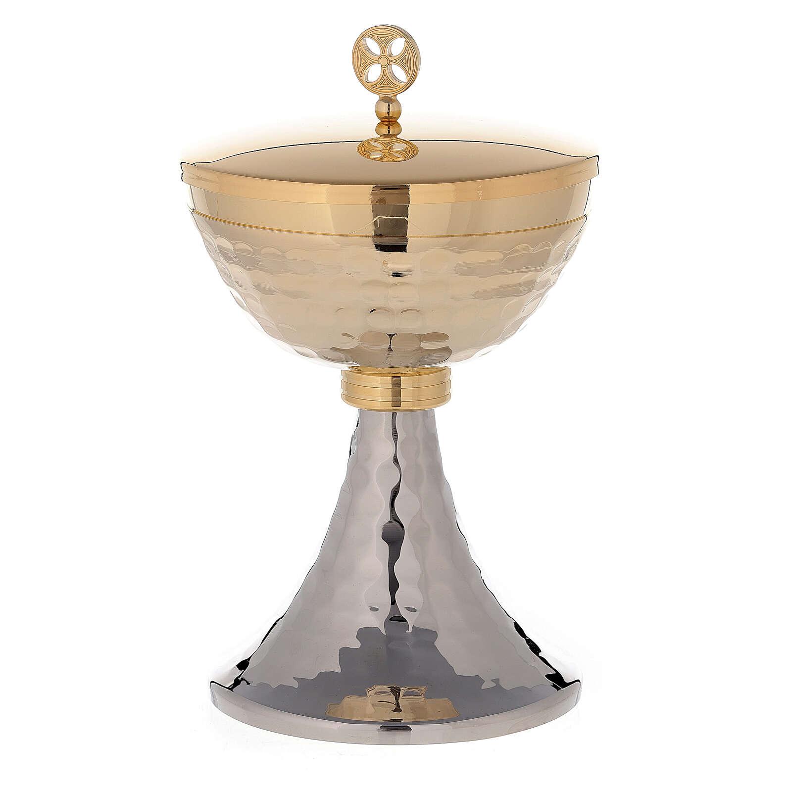 Chalice and Ciborium set in 24K golden brass hammered under-cup simple knop 4