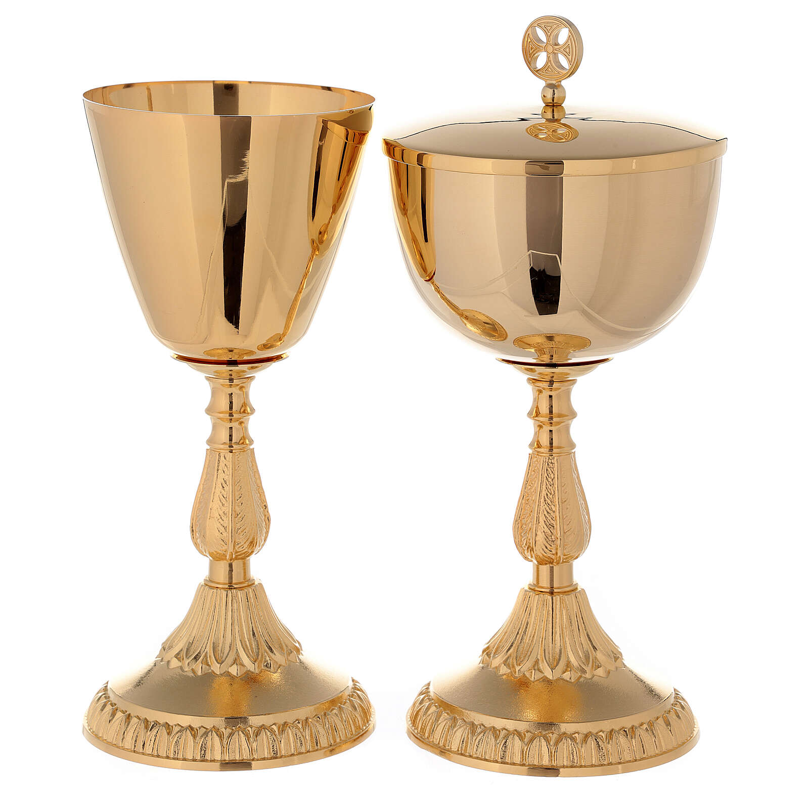 Chalice and Ciborium in golden brass 24k with knot and fused base 4