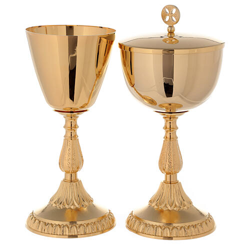 Chalice and Ciborium in golden brass 24k with knot and fused base 1