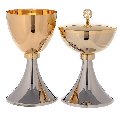 Chalice and Ciborium in 24K golden brass two-toned 1