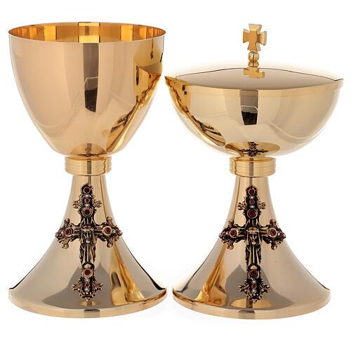 Cáliz y Copón Jesús de latón dorado 24k 1