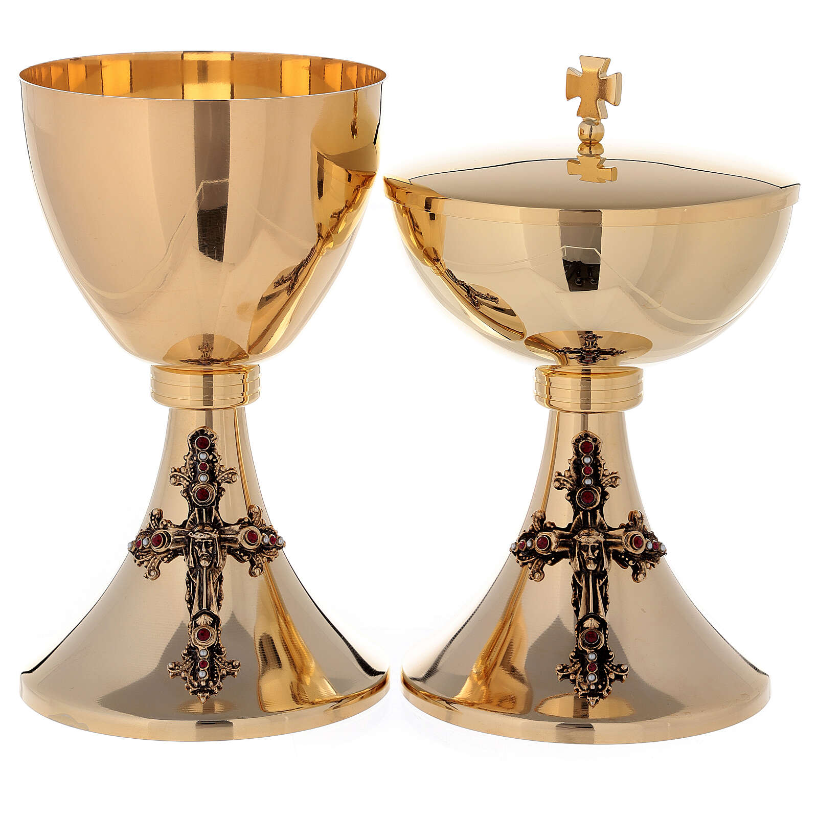 Chalice and Ciborium Jesus in 24K golden brass 4