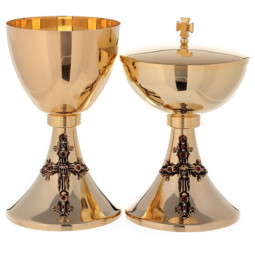 Chalice and Ciborium Jesus in 24K golden brass 1