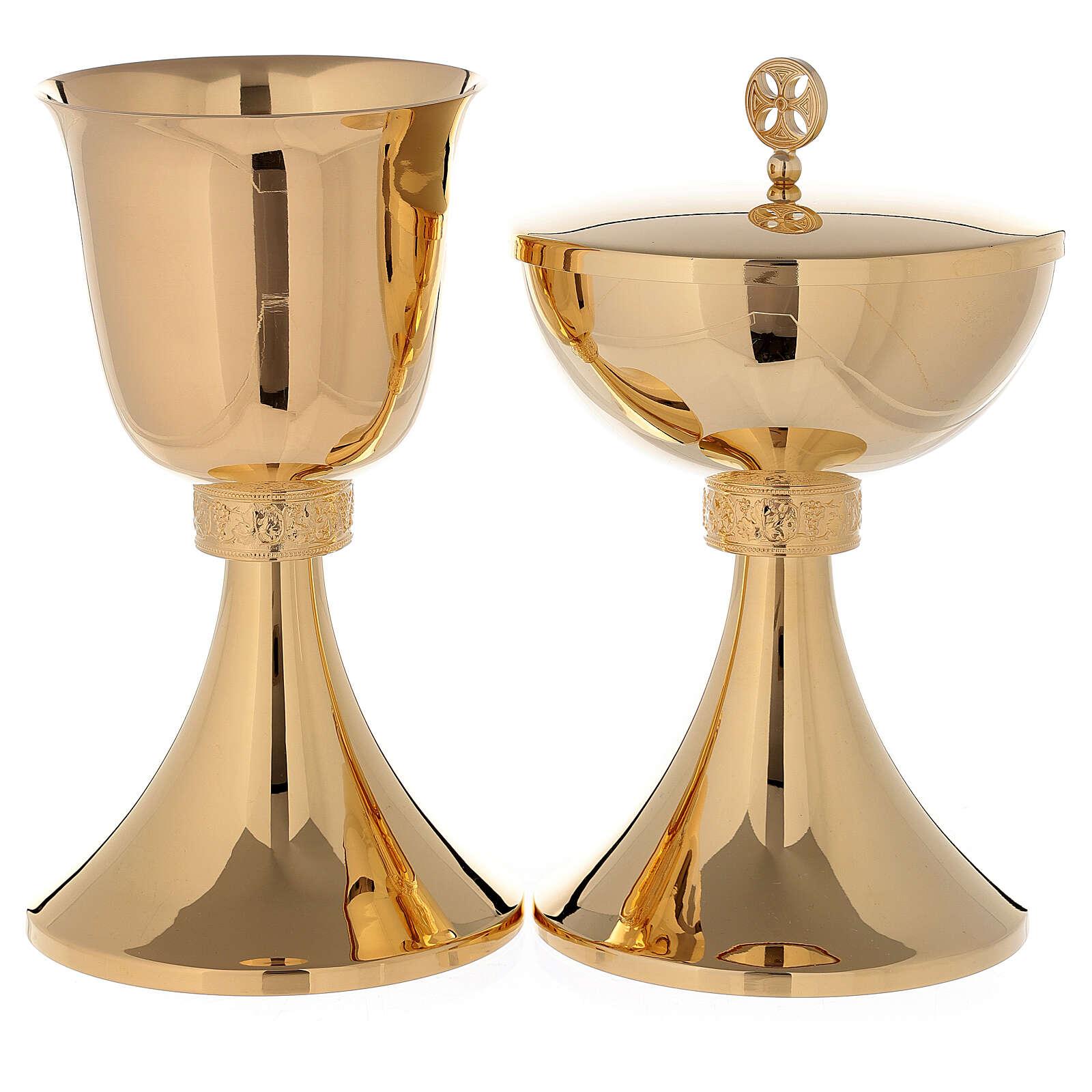 Chalice and Ciborium in 24K golden brass grape wine leaves 4