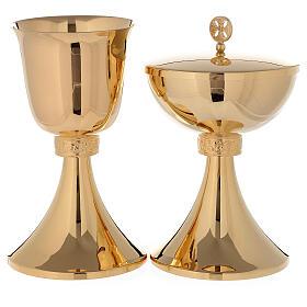 Chalice and Ciborium in 24K golden brass grape wine leaves s1