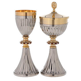 Traveling chalice and Ciborium in 24-karat gold plated brass s1