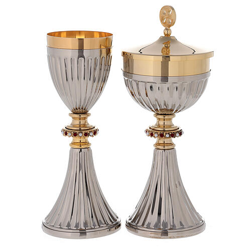 Traveling chalice and Ciborium in 24-karat gold plated brass 1
