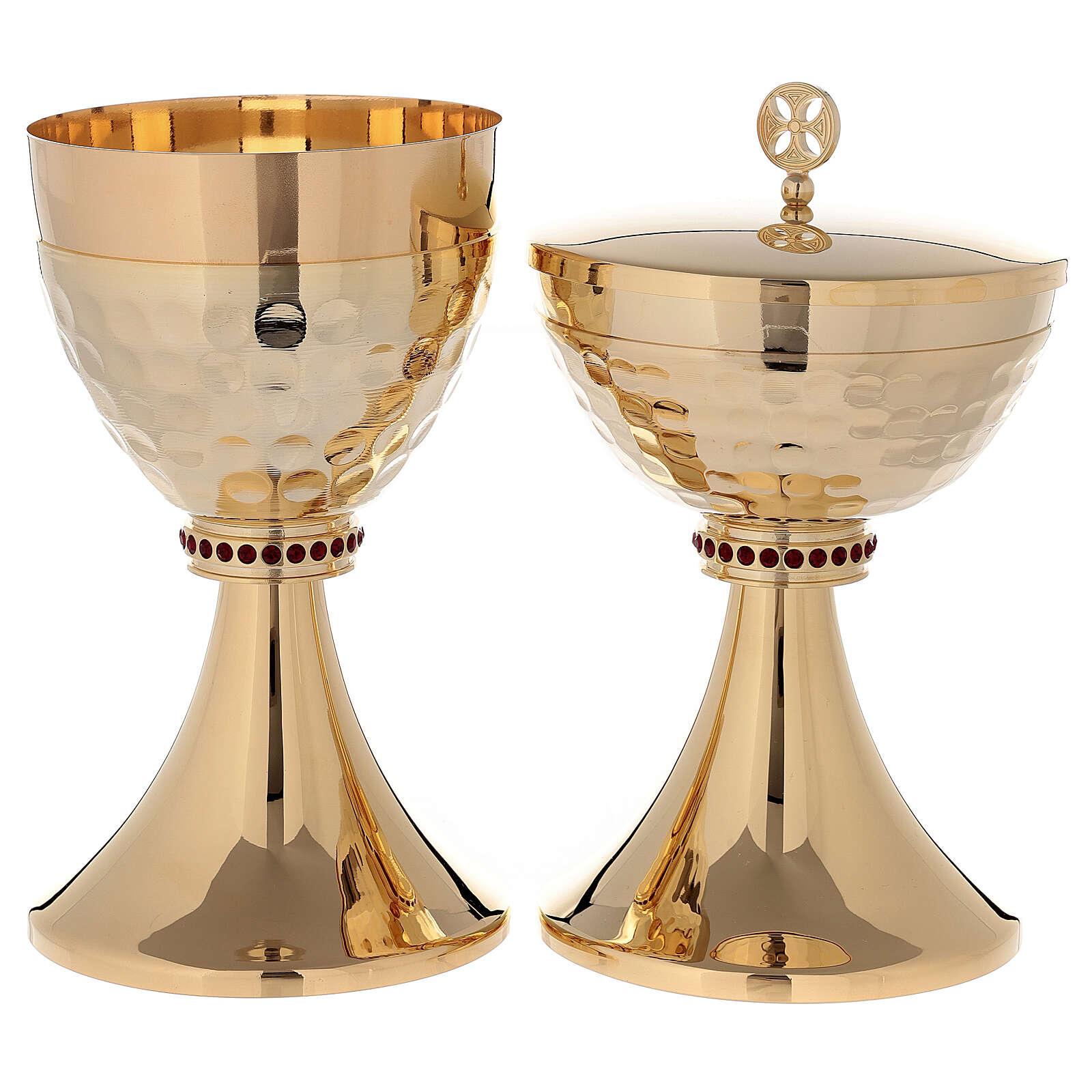 Cáliz y Copón de latón dorado 24k base de la copa martillada 4