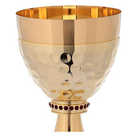 Cáliz y Copón de latón dorado 24k base de la copa martillada s3