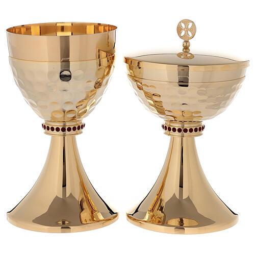 Cáliz y Copón de latón dorado 24k base de la copa martillada 1