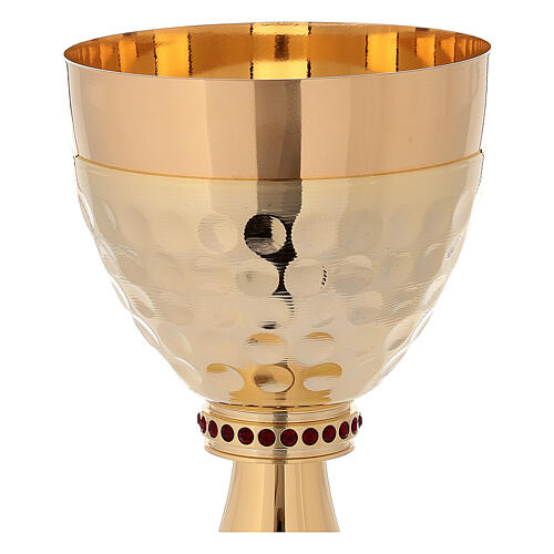 Cáliz y Copón de latón dorado 24k base de la copa martillada 3