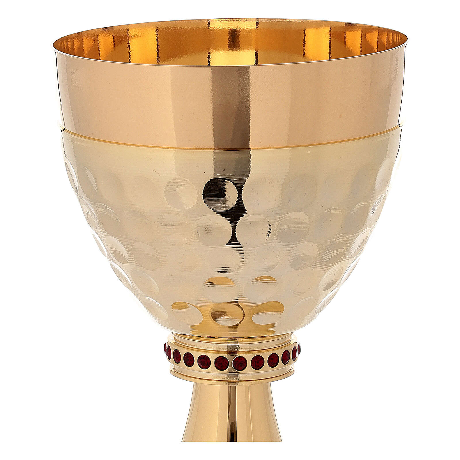 Chalice and ciborium in 24-karat gold plated brass hammered cup 4