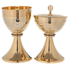 Chalice and ciborium in 24-karat gold plated brass hammered cup s1
