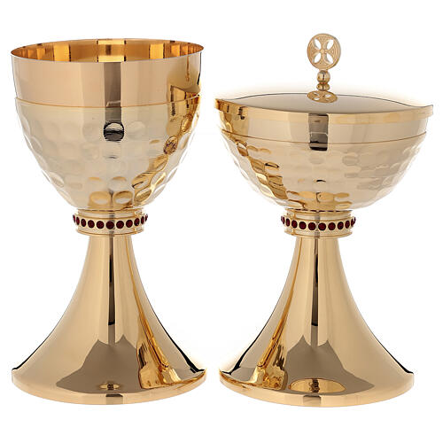 Chalice and ciborium in 24-karat gold plated brass hammered cup 1