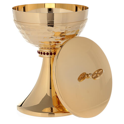 Chalice and ciborium in 24-karat gold plated brass hammered cup 5