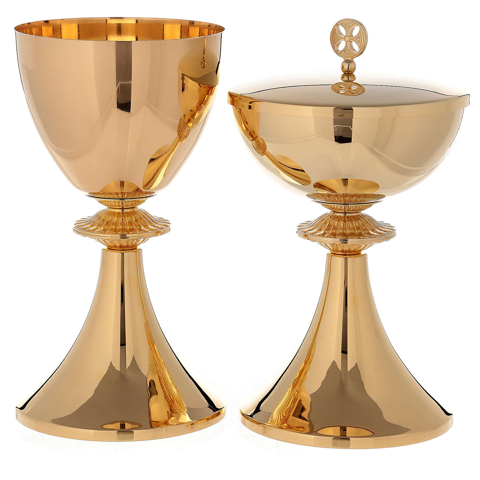 Chalice and Pyx in 24k polished golden brass with cast knot 4