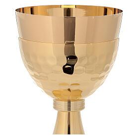 Cáliz y copón de latón dorado 24k simples s3