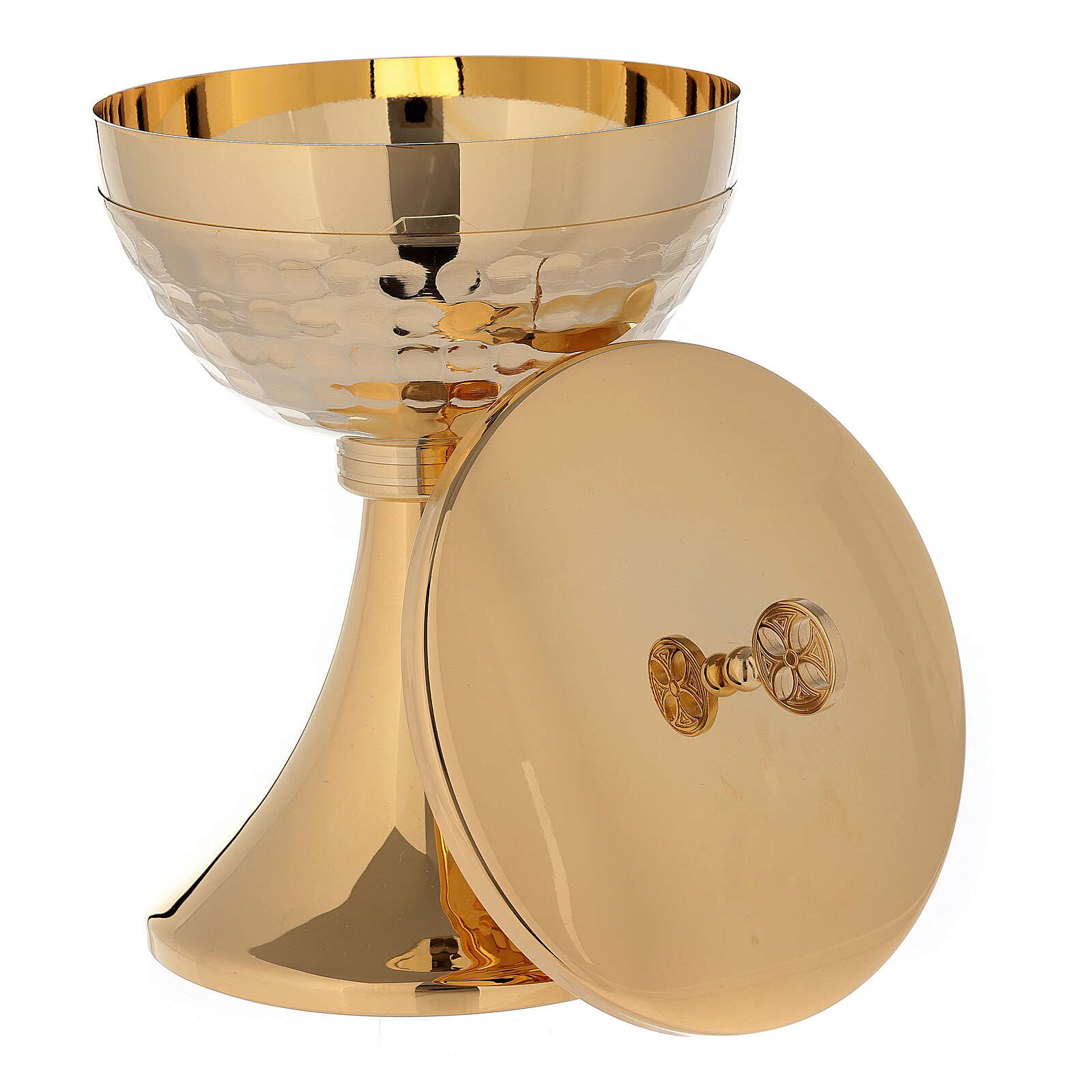 Chalice and ciborium in 24-karat gold plated brass simple style 4
