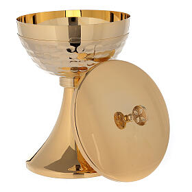 Chalice and ciborium in 24-karat gold plated brass simple style s5