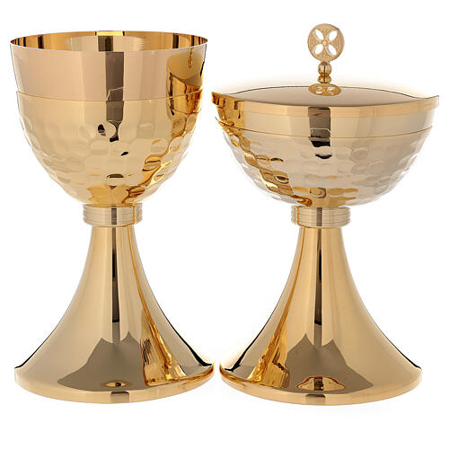 Chalice and ciborium in 24-karat gold plated brass simple style 1