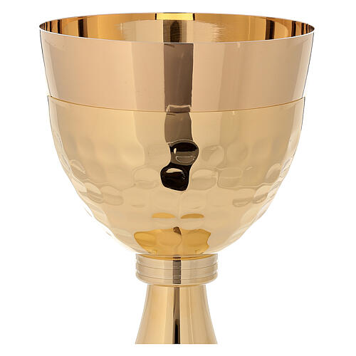 Chalice and ciborium in 24-karat gold plated brass simple style 3