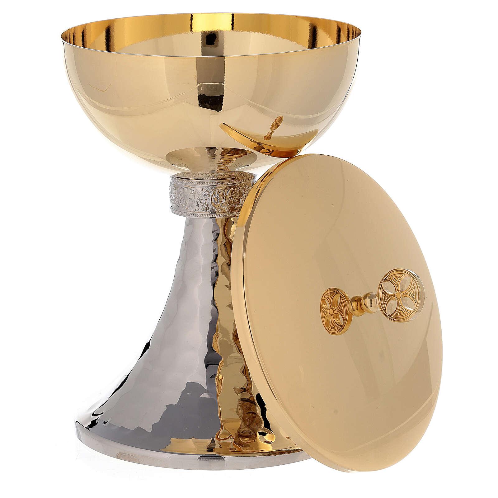 Calice e pisside coppa ottone dorato con base martellata  4