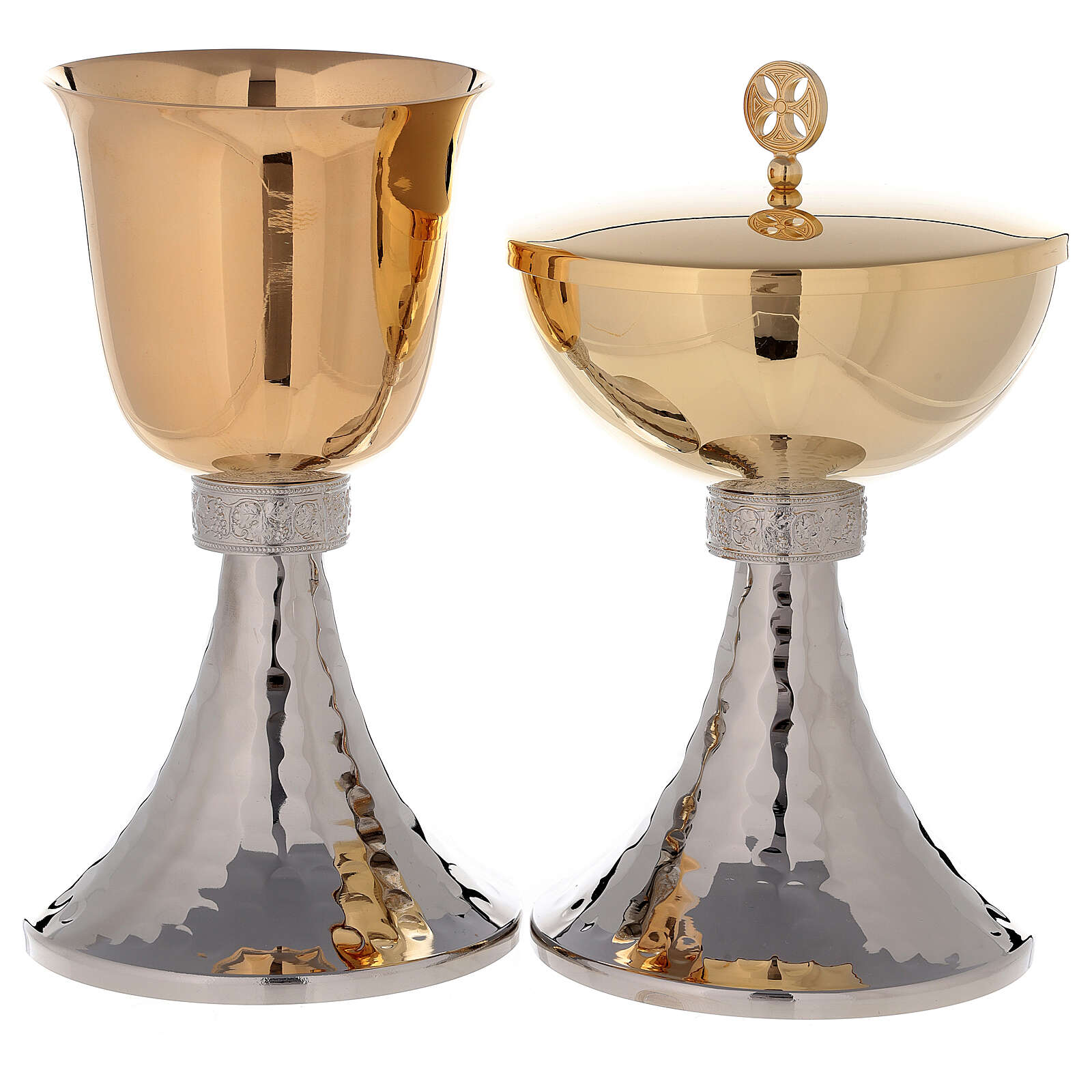 Chalice and ciborium gold plated brass bowl with hammered base 4