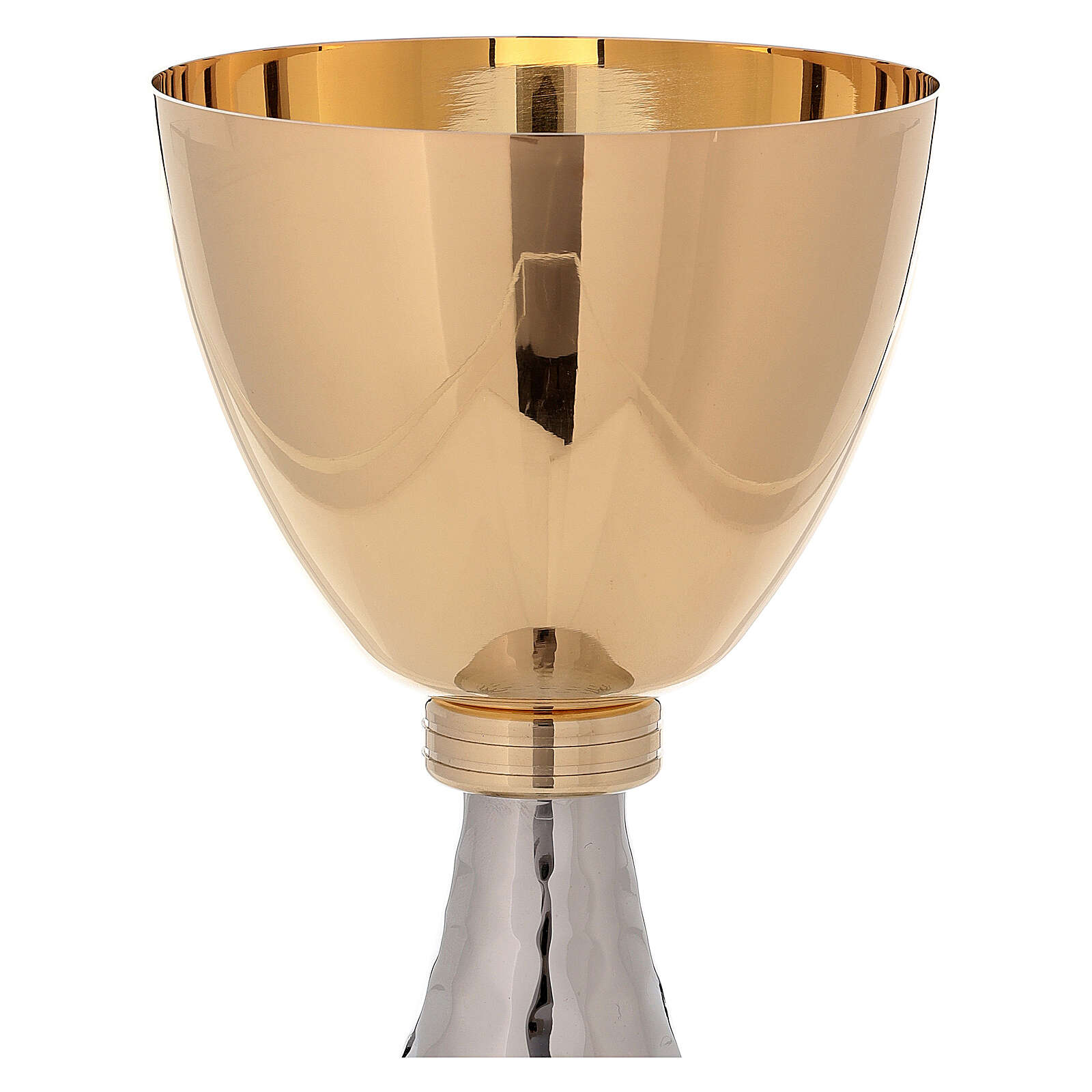 Goblet and pyx golden brass and simple hammered base 4