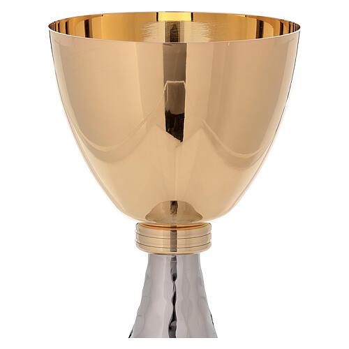 Cáliz y copón latón dorado y base martillada simple 3