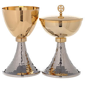 Chalice and ciborium gold plated brass and hammered base s1